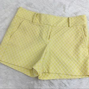 ANN TAYLOR Yellow Diamond Jacquard City Fit Shorts